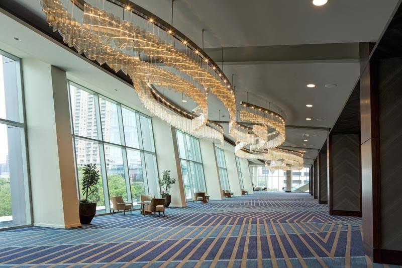 Glass chandelier installation at Marriott Marquis