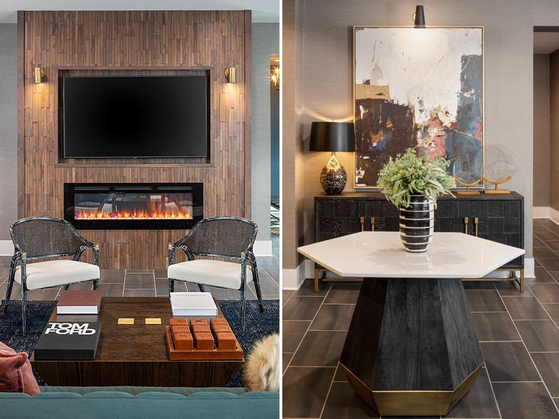 Interior photography showing vignettes of The Hawk's resident amenity