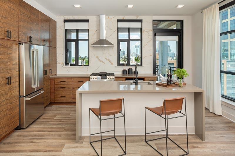 The Hawk's model apartment unit kitchen