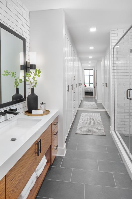 The Hawk's model apartment unit master bath