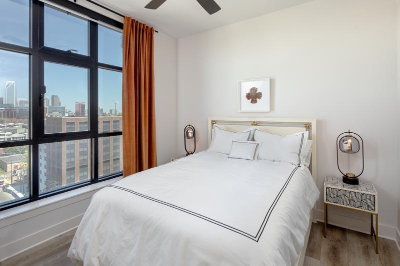 The Hawk's model apartment bedroom